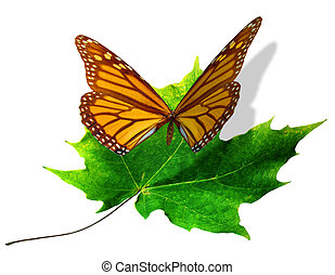 A yellow butterfly lands on a summer green maple leaf. 3D illustration.