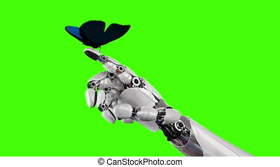 Butterfly Lands on the Robot's Hand