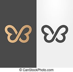 Butterfly line logo, icon.