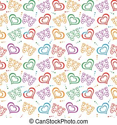 Butterfly love hand drawn Pattern