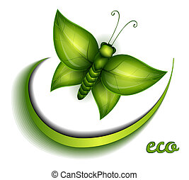 Butterfly made of green leaves eco sign
