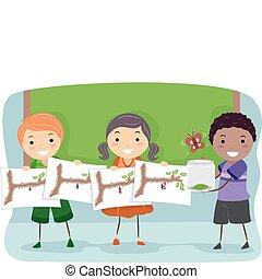 Butterfly Metamorphosis - Illustration of Kids Demonstrating...