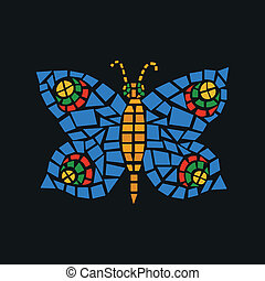 Butterfly Mosaic - ?olorful butterfly mosaic on a dark...