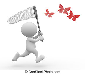 Butterfly net - 3d people - man, person and catching...