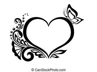 butterfly., noir blanc, coeur, stylique floral, symbole