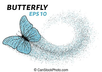 Butterfly of the particles. Of the smaller circles is a butterfly. Vector illustration