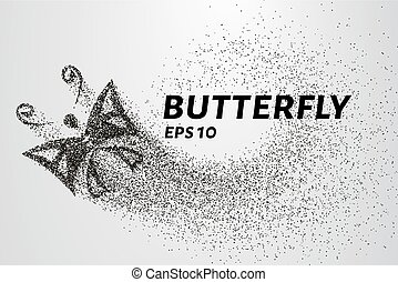 Butterfly of the particles. The butterfly consists of circles and points. Vector illustration