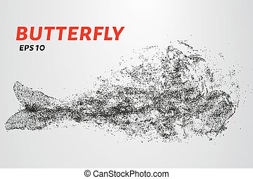 Butterfly of the particles. The butterfly consists of circles and points. Vector illustration.