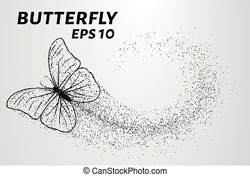 Butterfly of the particles. The wind carries a piece of a butterfly. Vector illustration
