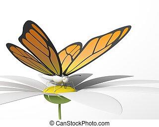 Butterfly on a daisy - Orange butterfly on a daisy. 3d...