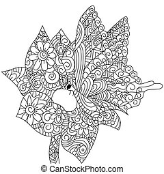 Butterfly On A Flower Coloring Book Vector For Adults