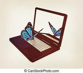 butterfly on a notebook. 3D illustration. Vintage style.