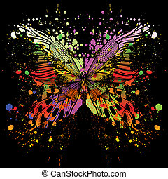 Butterfly on background of with col