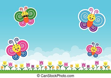Butterfly on Nature background with green grass and smile flowers and blue sky