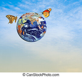 Butterfly on planet Earth. Elements of this image furnished by NASA