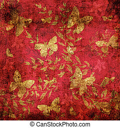 Butterfly on red floral grunge pattern