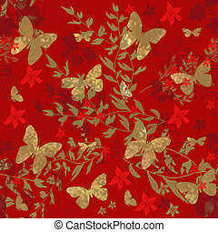 Butterfly on red floral seamless pattern