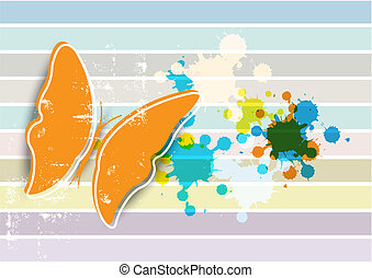 butterfly on retro background