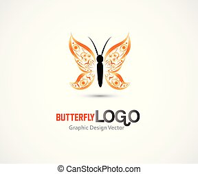 Butterfly orange garden insect id card business icon logo vector