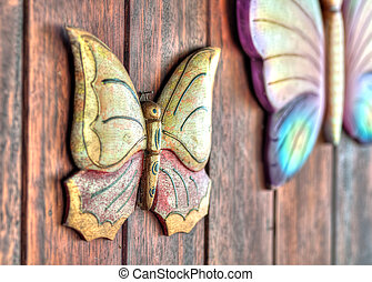 Butterfly ornaments on a wall