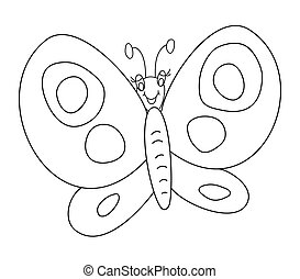 Butterfly outline vector illustration isolated on white background. Coloring book for children.