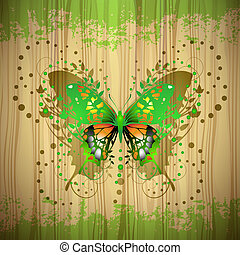 Butterfly over Wood