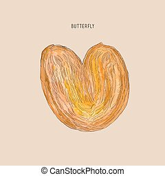 butterfly pastry , hand drawn sketch water color vector.