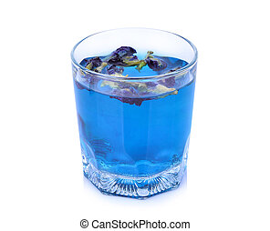 butterfly pea tea in the glass, health drink isolated on white background