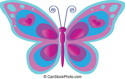 Butterfly with spots in blue and pink colors