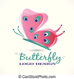 Butterfly pink color beautiful graphic id card logo design vector