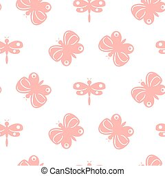 Butterfly pink pastel baby seamless vector pattern.