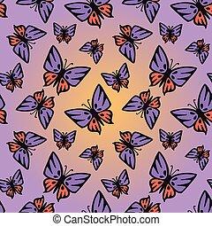 Butterfly pink-purple seamless