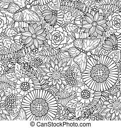butterfly., próbka, abstrakcyjny, ozdobny, seamless, flowers., zentangle, kwiaty, struktura