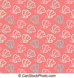 Butterfly seamless pattern pink background in vector.