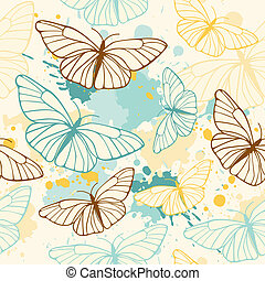 butterfly seamless pattern - vector seamless pattern with ...