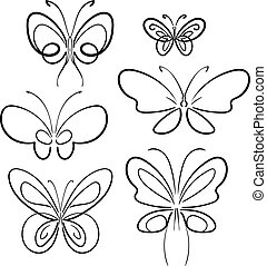 Butterfly set. Black on white isolated symbol. Vector.