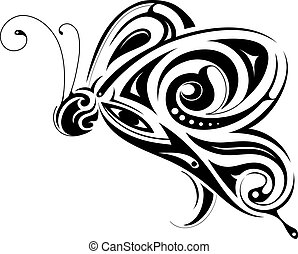 Butterfly shape with tribal art elements