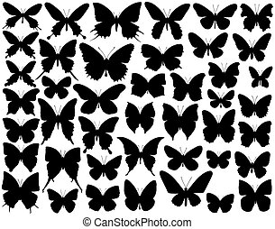 Selection of butterfly outlines and silhouettes