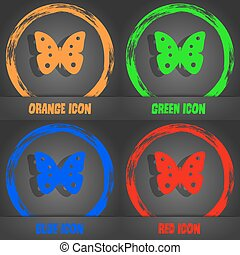 Butterfly sign icon. insect symbol. Fashionable modern style. In the orange, green, blue, red design. Vector
