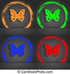 Butterfly sign icon. insect symbol. Fashionable modern style. In the orange, green, blue, red design.