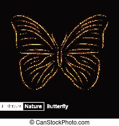 Butterfly silhouette of lights on black background