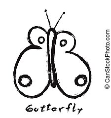 butterfly simple doodle, vector