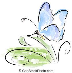 Butterfly sitting on grass over flower field