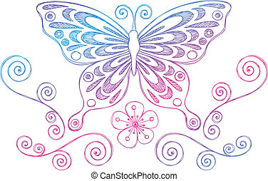 Butterfly Sketchy Doodle Vector