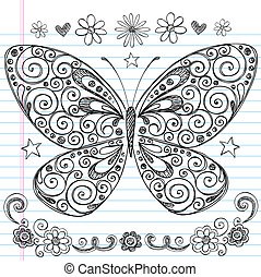 Butterfly Sketchy Doodle Vector - Hand-Drawn Butterfly...