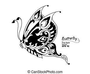 butterfly style line thai. Vector