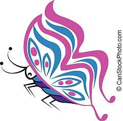 Butterfly stylized silhouette logo