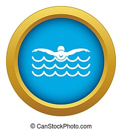 Butterfly swimmer icon blue isolated