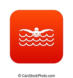 Butterfly swimmer icon digital red