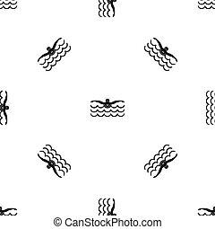 Butterfly swimmer pattern seamless black